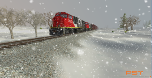 Train simulation in snow